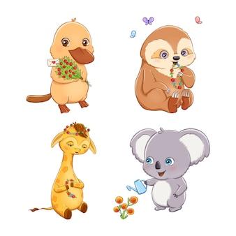Conjunto de animais adoráveis dos desenhos animados com flores