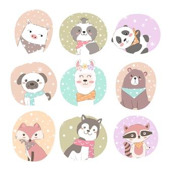 Conjunto de animais adoráveis