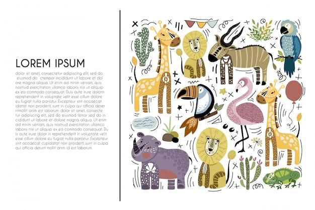 Conjunto de animais africanos dos desenhos animados