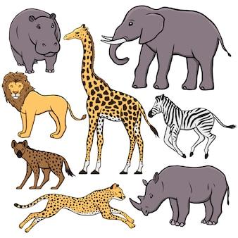 Conjunto de animais africanos: hipopótamo, elefante, leão, girafa, zebra, hiena, chita, rinoceronte