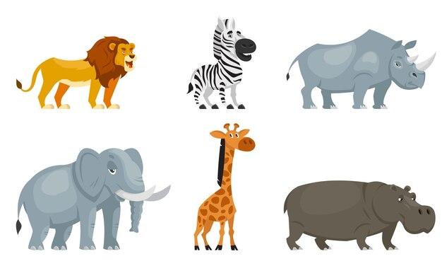 Conjunto de animais africanos três quartos vista. habitantes da vida selvagem em estilo cartoon.