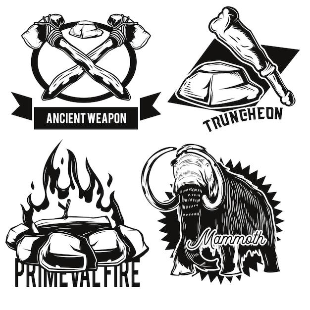 Conjunto de animais antigos e emblemas de instalações