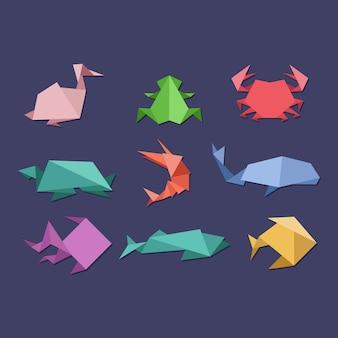 Conjunto de animais aquáticos e frutos do mar de origami