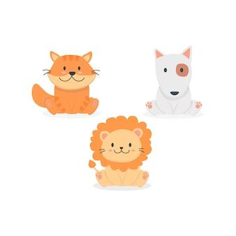 Conjunto de animais bebê fofo dos desenhos animados
