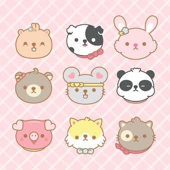 Conjunto de animais bonitos dos desenhos animados.