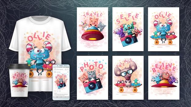 Conjunto de animais cartaz e merchandising