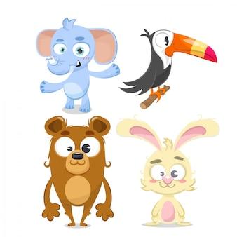 Conjunto de animais, coelho, urso, elefante e tucan.