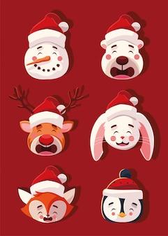 Conjunto de animais com chapéus de natal