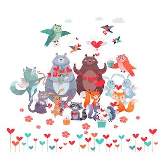 Conjunto de animais com corações. conceito dia dos namorados