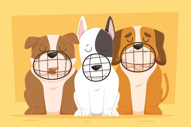 Conjunto de animais com focinheira de desenho animado