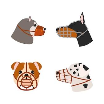 Conjunto de animais com focinheira de design plano