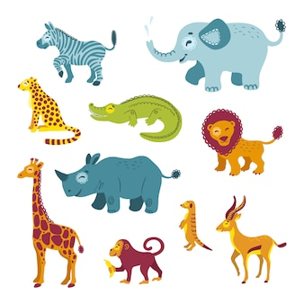 Conjunto de animais da africa. clipart de zoológico de savana isolado.
