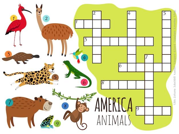 Conjunto de animais da américa em palavras cruzadas de crianças