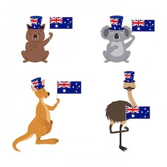 Conjunto de animais da austrália com bandeira, coala, canguru, avestruz
