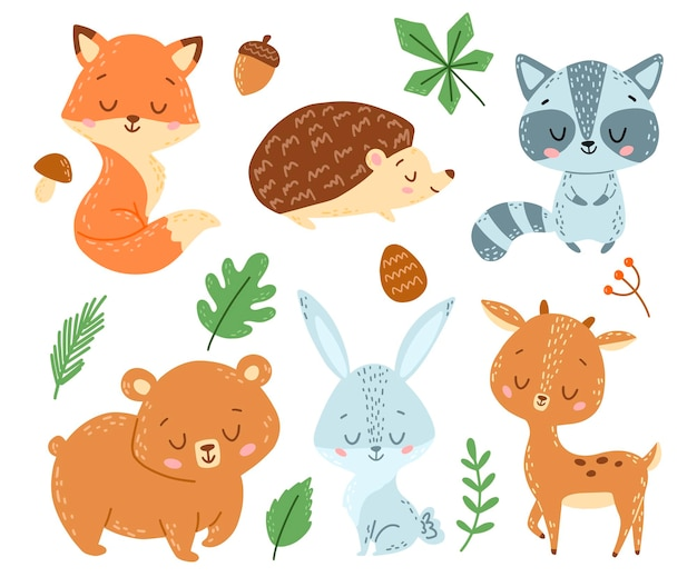 Conjunto de animais da floresta de desenho animado estilo doodle