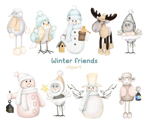 Conjunto de animais da floresta de inverno e bonecos de neve clipart de personagens fofinhos de natal