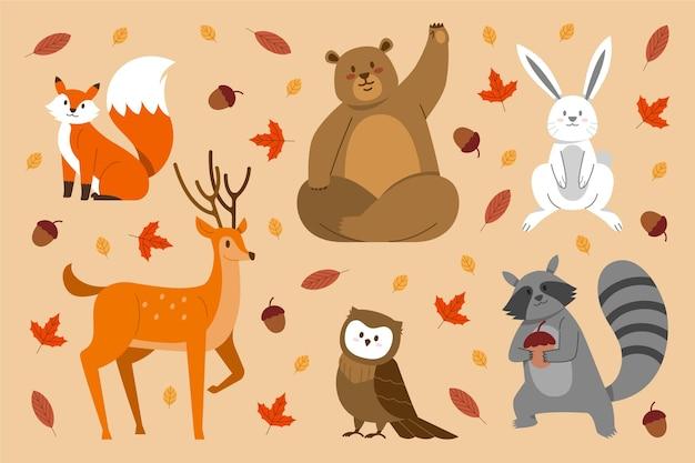Conjunto de animais da floresta de outono de design plano