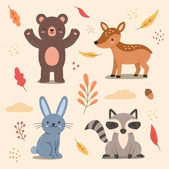 Conjunto de animais da floresta de outono