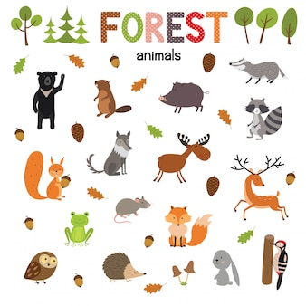 Conjunto de animais da floresta, feitos em vetor de estilo simples. coleção de desenhos animados zoo para crianças