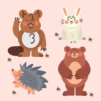 Conjunto de animais da floresta outono desenhar
