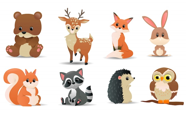 Conjunto de animais da floresta. símbolos da floresta