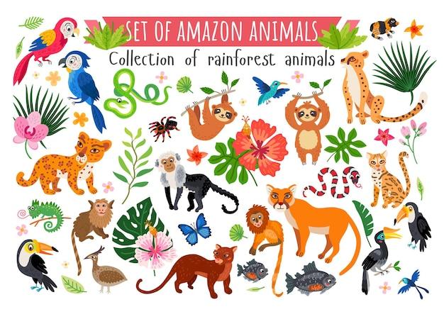 Conjunto de animais da savana africana