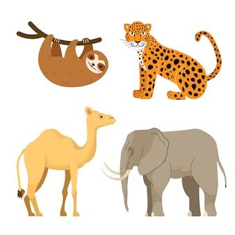 Conjunto de animais da selva e do deserto