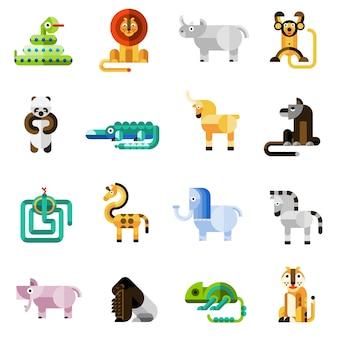 Conjunto de animais da selva