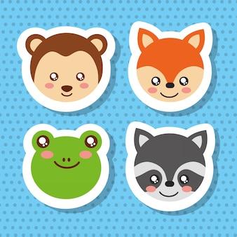 Conjunto de animais da vida selvagem rosto bonito