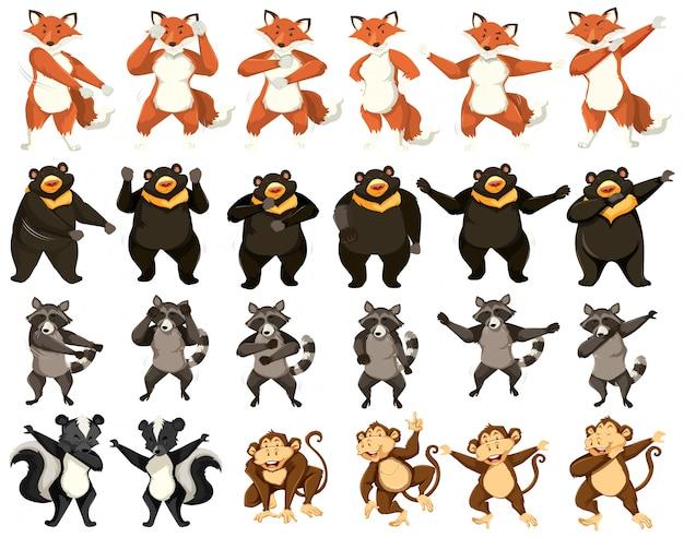 Conjunto de animais dançantes