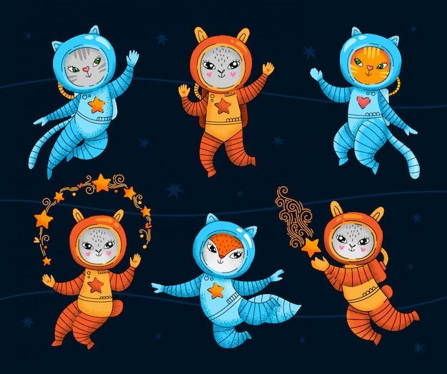 Conjunto de animais de astronauta bonito mão desenhada