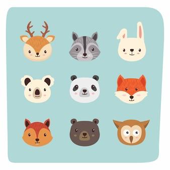 Conjunto de animais de cabeça bonito