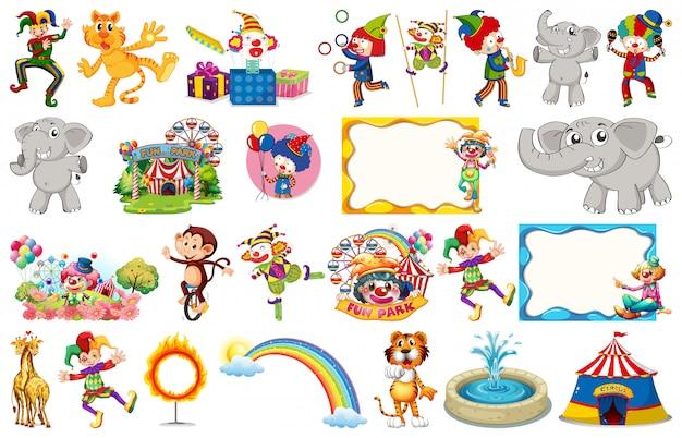 Conjunto de animais de circo, personagens, objetos e molduras