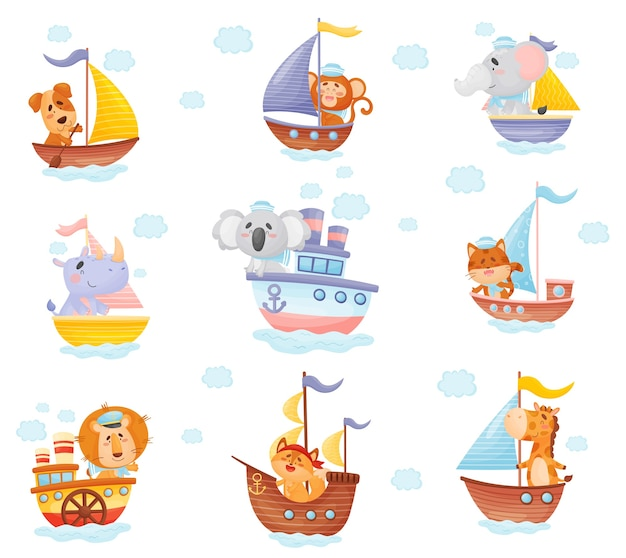 Conjunto de animais de desenho animado em barcos de diferentes tipos