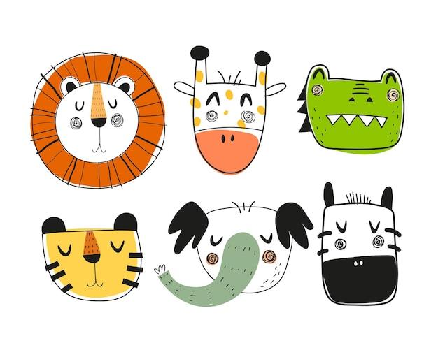 Conjunto de animais de desenho animado isolado no branco