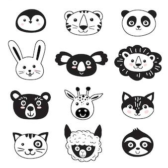 Conjunto de animais de estilo escandinavo