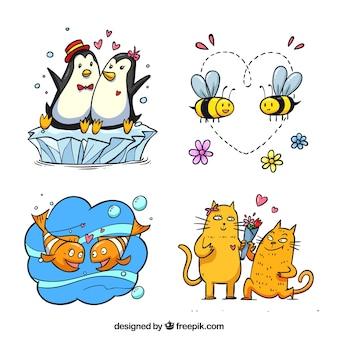 Conjunto de animais de estimação de namorados