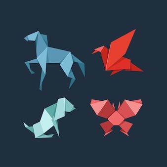 Conjunto de animais de estimação e animais selvagens de origami