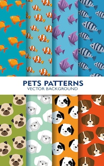 Conjunto de animais de estimação padrões backgrouns