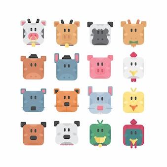 Conjunto de animais de fazenda bonito com forma básica quadrada