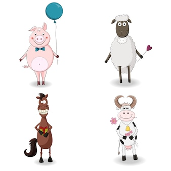 Conjunto de animais de fazenda bonito