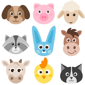 Conjunto de animais de fazenda coloridos bonitos dos desenhos animados