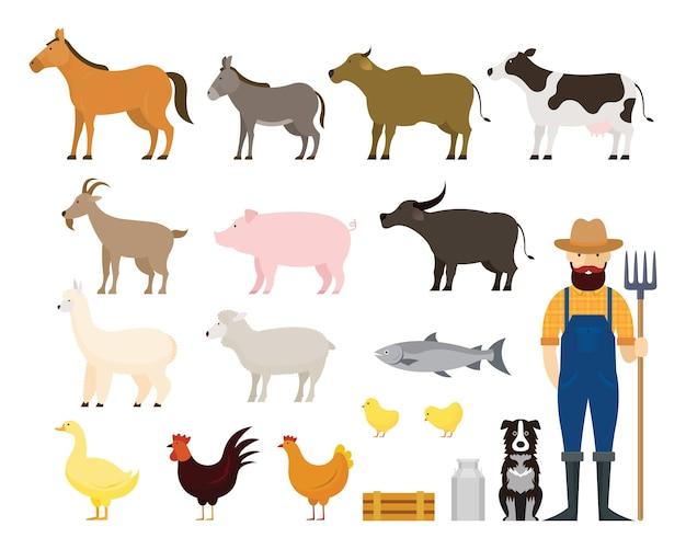 Conjunto de animais de fazenda com fazendeiro e cachorro