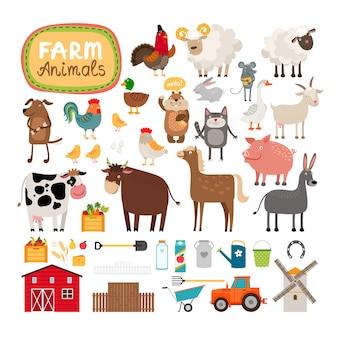 Conjunto de animais de fazenda e acessórios agrícolas.