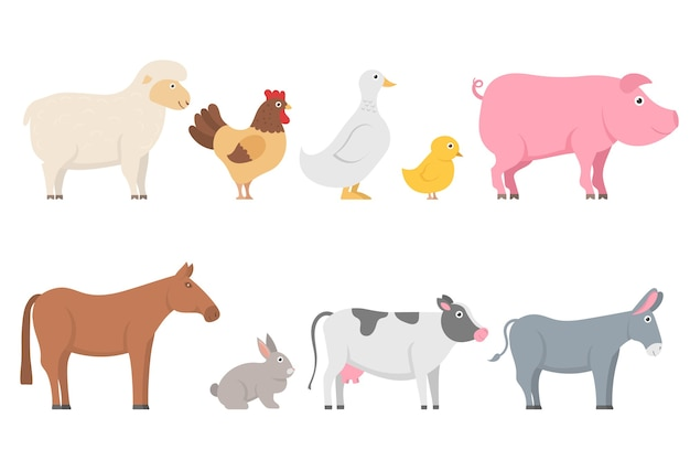 Conjunto de animais de fazenda e pássaros em moderno estilo simples. coleção de personagens de desenhos animados, isolada no fundo branco. ovelha, cabra, vaca, burro, cavalo, porco, gato, cachorro, pato, ganso, galinha, galo.
