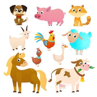 Conjunto de animais de fazenda em estilo simples, isolado