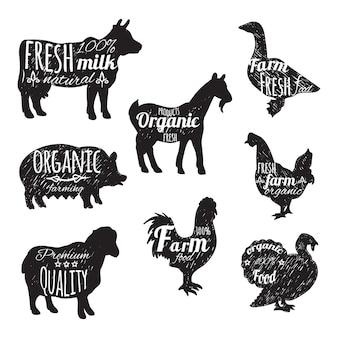 Conjunto de animais de fazenda ícones decorativos de lousa