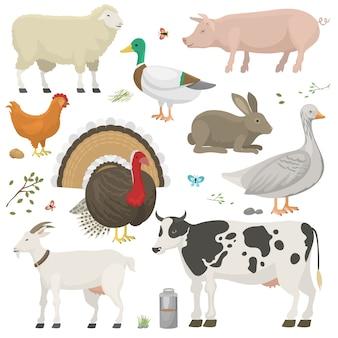 Conjunto de animais de fazenda.
