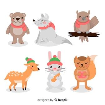 Conjunto de animais de inverno