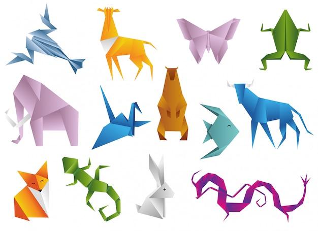 Conjunto de animais de origami